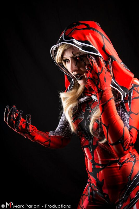 Mega5 Cosplay as a Carnage/Spider Gwen mashup. Photo taken by Mark Pariani Productions