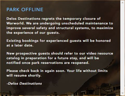 The current Park Offline message on the Warworld site.